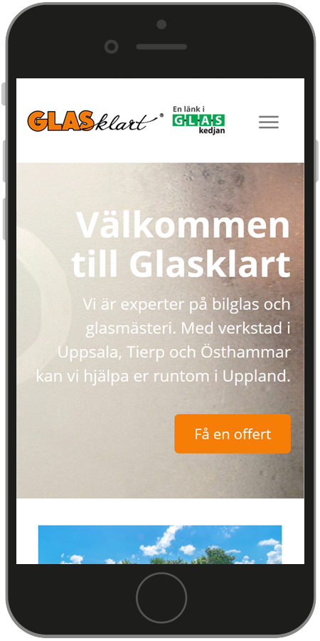 Printscreen mobilanpasad hemsida